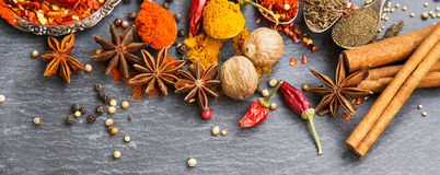Cooking spices powders and seed, chili flakes, nutmeg and cinnam Stock Images