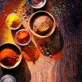 Cooking with spices in a rustic kitchen Royalty Free Stock Image