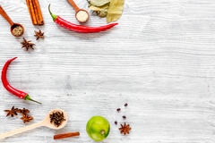 Cooking with spices, vanilla, cinnamon on kitchen table background top view mock-up Stock Photo