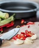 Cooking Spicy Food Means Red Chilli And Chile Stock Photography