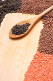 Cooking spoon with lentils Stock Photography