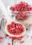 Cooking Spoon with Pink Peppercorns Stock Image