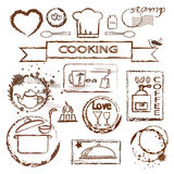 Cooking stamp set Royalty Free Stock Images