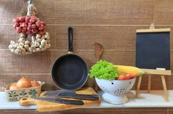 Cooking station with utensils and ingredients stock photos