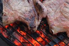 Flaming steak Stock Photos