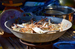 Cooking Steamed Flower crab. Blue crab, Blue swimmer crab, Blue manna crab, Sand crab Stock Images