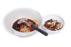 Cooking of steamed grouper with mashroomhite Stock Images