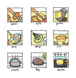 Cooking steps icons – cut, peal, mix, cook, bake … Stock Image