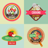 Cooking sticker. Four sticker or badge for cooking in flat style Stock Images