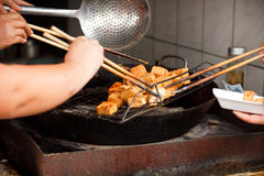 Cooking Stinky Tofu Royalty Free Stock Photography