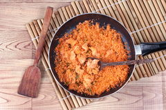 Cooking stir-fried grated coconut with shrimp for served. Royalty Free Stock Photos