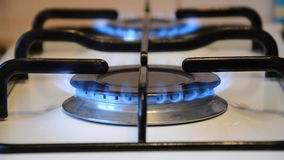 Cooking stove with blue gas burning & switching off stock video