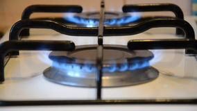 Cooking stove 2 burners with focus changing stock footage