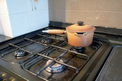 Cooking stove and pot Royalty Free Stock Photo