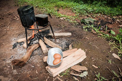 Cooking style of adventure travel Royalty Free Stock Photo