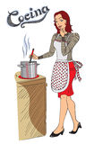 Cooking with Style. Fun and stylish vector art depicts a pretty red-haired lady who is cooking something yammy and tasting it with her finger. Cocina hand-drawn Stock Photography
