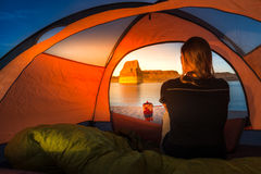 Cooking at Sunset Tent Camping Lone Rock Lake Powell Stock Image