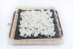 Cooking Sushi, put rice step Royalty Free Stock Images