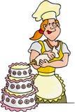 Cooking Sweet Seller. Cartoon artwork line-art vector illustration