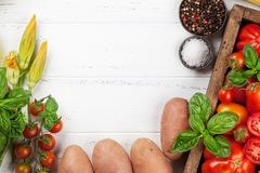 Cooking table with ingredients Stock Image