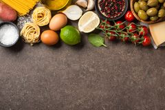 Cooking table with ingredients royalty free stock photography