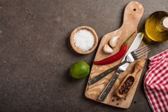 Cooking table with ingredients royalty free stock image