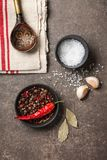 Cooking table with ingredients royalty free stock photo