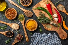 Cooking table with spices and herbs. Top view Stock Photo