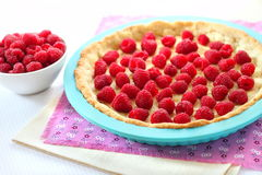 Cooking of tart with raspberry Royalty Free Stock Photography