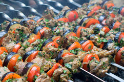 Cooking tasty kebab with vegetables Stock Photos