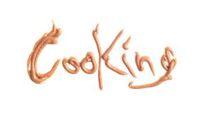 Cooking text. Made of hand write with chocolate sweet food isolated on white Stock Photography