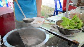 Cooking Thai Food Noodle soup stock footage
