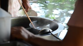 Cooking Thai Noodle at Klong Lat Mayom Canal Floating Market at Bangkok Thailand Stock Photos