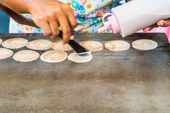Cooking thai pancakes Royalty Free Stock Image