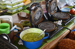 Cooking Thai Snack Soft Thai rice flour pancake Royalty Free Stock Photos