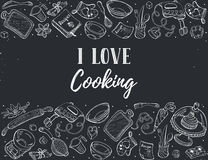 Cooking time poster. I love cooking. Baking tools in horizontal composition. Recipe book background concept. Poster with hand drawn kitchen utensils Royalty Free Stock Image