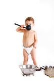 Cooking toddler over white Stock Photography