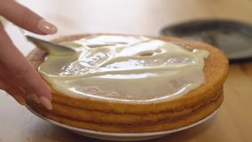 cooking Toepassing van condens op gebakken cakes stock videobeelden