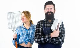 Cooking together. Barbecuing common technique. Essential barbecue dishes. Bearded hipster and girl hold cooking grilling stock images