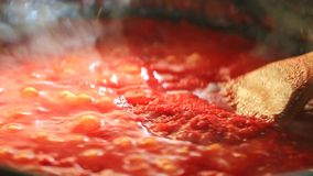 Cooking tomato sauce stock footage