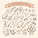 Cooking tools. Baking items collection in doodle style. Hand drawn kitchen tools set Royalty Free Stock Photography