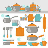 Cooking tools Dishes set. Kitchen equipment Stock Images