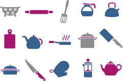 Cooking Tools Icon Set. Vector icons pack - Blue-Fuchsia Series, cooking tools collection Royalty Free Stock Image