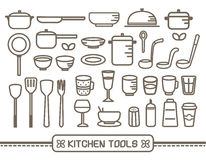 Cooking tools icons set. Vector of cooking and kitchen tool outline icons set stock illustration