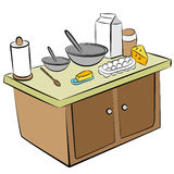 Cooking Tools and Ingredients. An image of a cooking tools and ingredients on a kitchen island Royalty Free Stock Photography