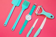 Cooking tools and kitchen utensil on background. Cooking tools and kitchen utensil on color background Royalty Free Stock Image