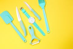 Cooking tools and kitchen utensil on background. Cooking tools and kitchen utensil on color background Stock Images