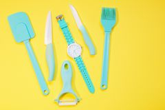 Cooking tools and kitchen utensil on background. Cooking tools and kitchen utensil on color background Stock Photo