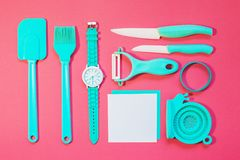 Cooking tools and kitchen utensil on background. Cooking tools and kitchen utensil on color background Royalty Free Stock Photos