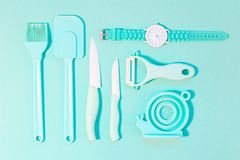 Cooking tools and kitchen utensil on color background Royalty Free Stock Image